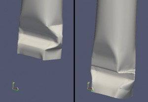 Deformation of a carton tube